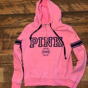 PINK VICTORIA'S SECRET hoodie with quarter zip